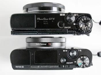 DSC-RX100M3もG7Xも同じようなボディ厚