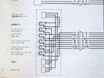 サービスマニュアルのメーター部分の配線図