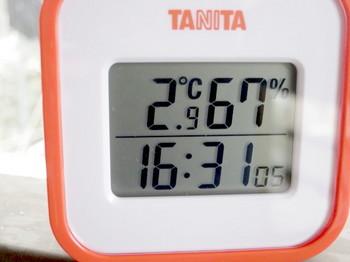 16時半過ぎの気温は3度弱