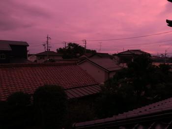 怪しい色の夕焼け