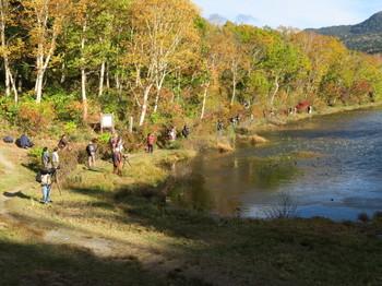 志賀高原・蓮池で撮影中