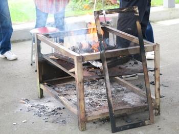 炭に火をおこしたところ