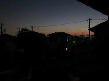 自宅二階から見る夕暮れ