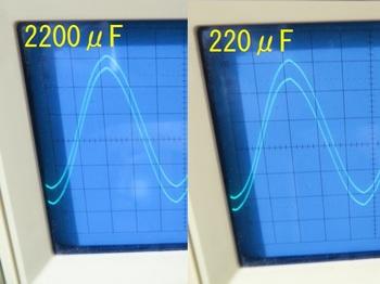 出力側コンデンサの違いに依る波形の違い