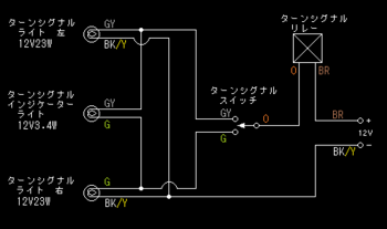 KL250Rのウインカーの簡略配線図