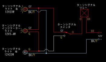 左ウインカー動作中の図
