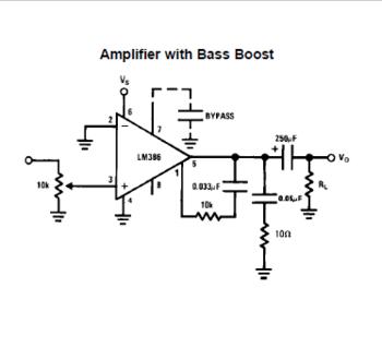 LM386のデータシートにあるBass boostアンプ回路図