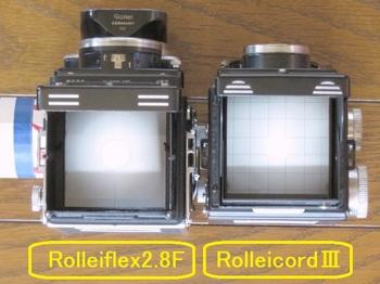 ローライフレックス2.8Fとローライコード3+新スクリーンの比較