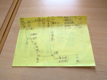 鉄道で出雲大社遠征の計画図
